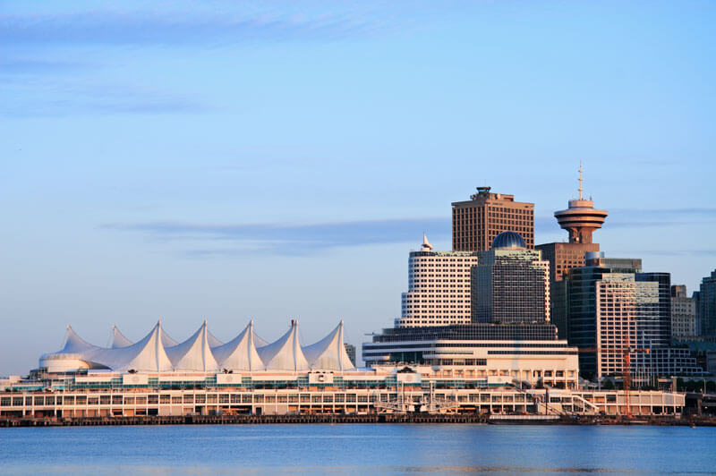 View of Burrard Inlet, Canada Place and Harbor Centre in downtown Vancouver