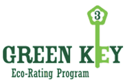 Green and white Green Key eco-rating program small sized logo