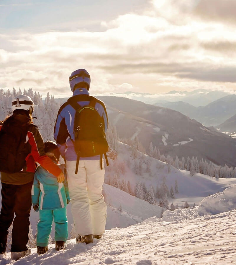 A family looking out over snow covered mountains and trees
