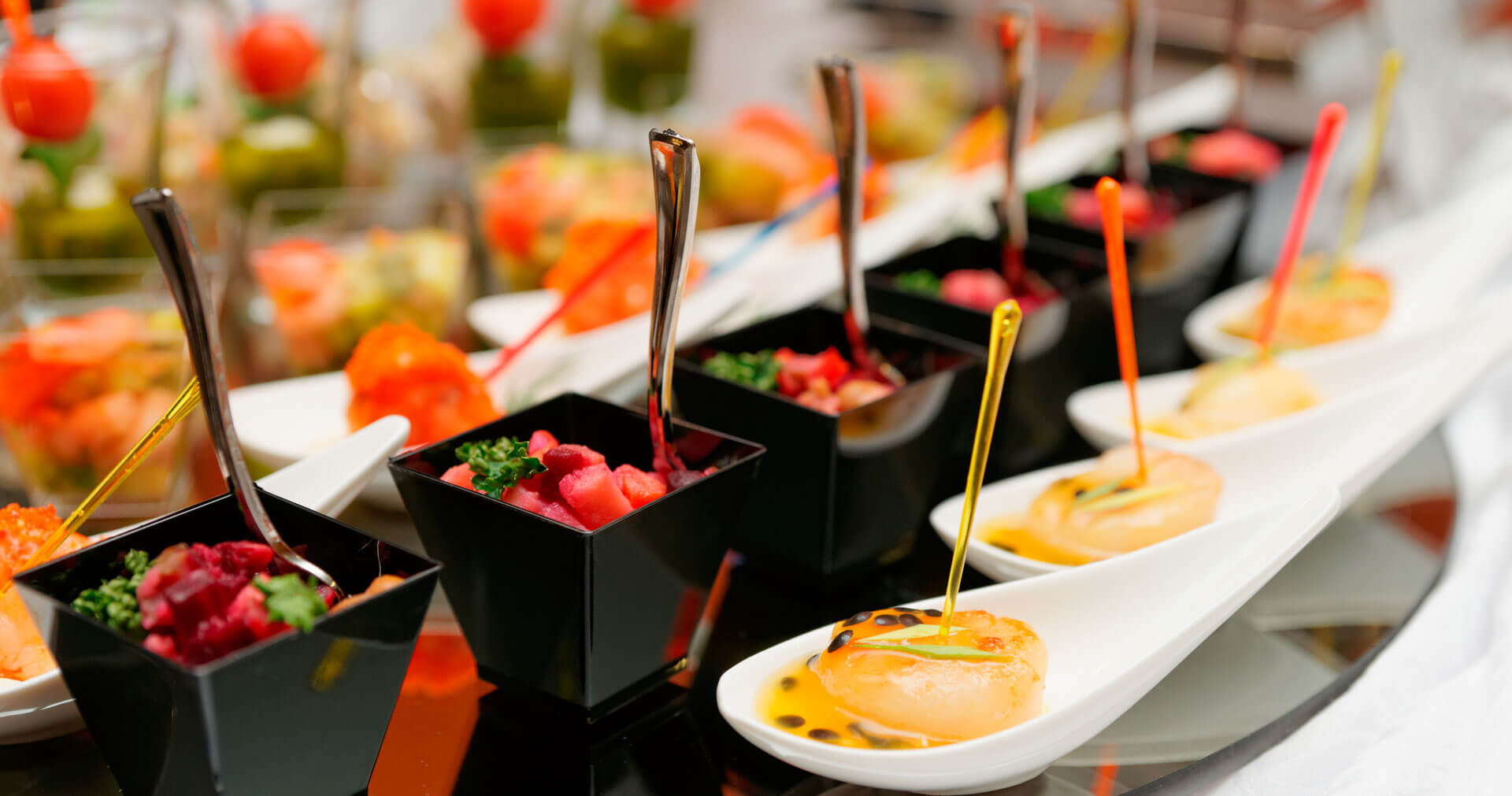 Catered food presented enticingly to guests