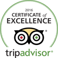 Red, green and yellow Tripadvisor 2016 Certificate of Excellence small sized logo