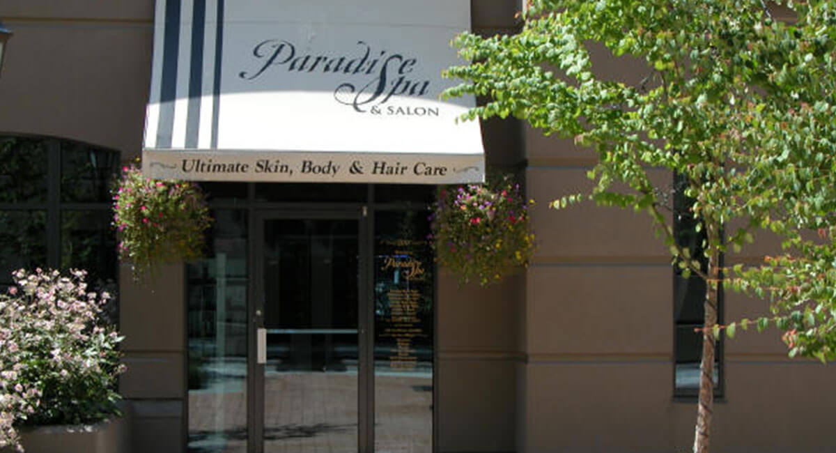 Front entrance to the Paradise Spa and Salon in North Vancouver