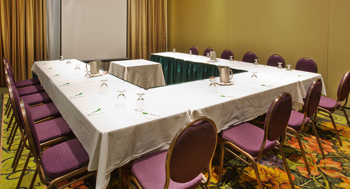 Conference room set up for visual presentations at the Holiday Inn North Vancouver