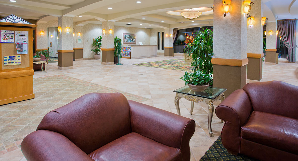 A spacious and elegant hotel lobby at the Holiday Inn North Vancouver