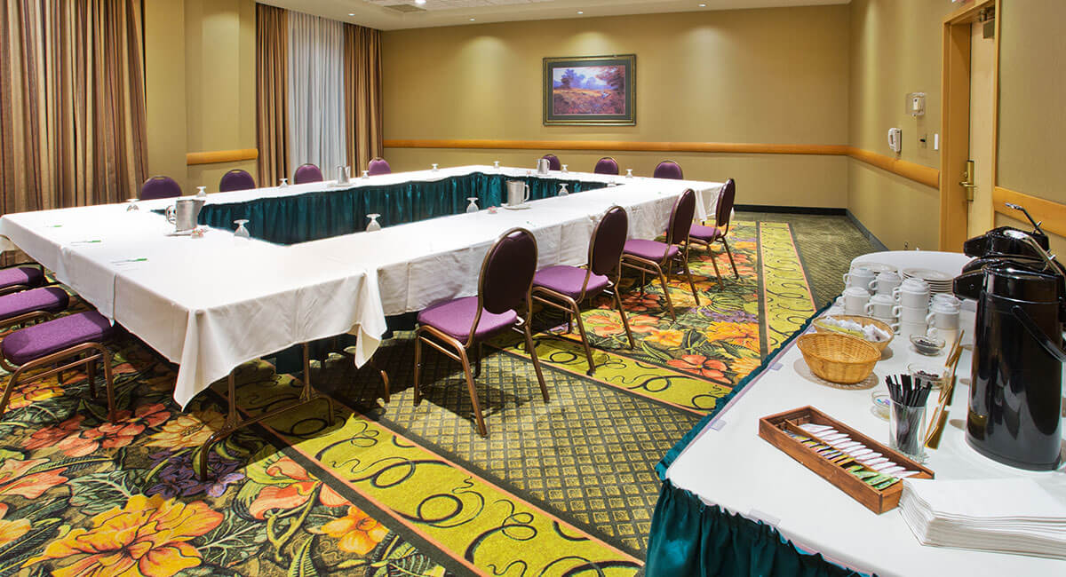 Conference room set up with refreshments at Holiday Inn North Vancouver
