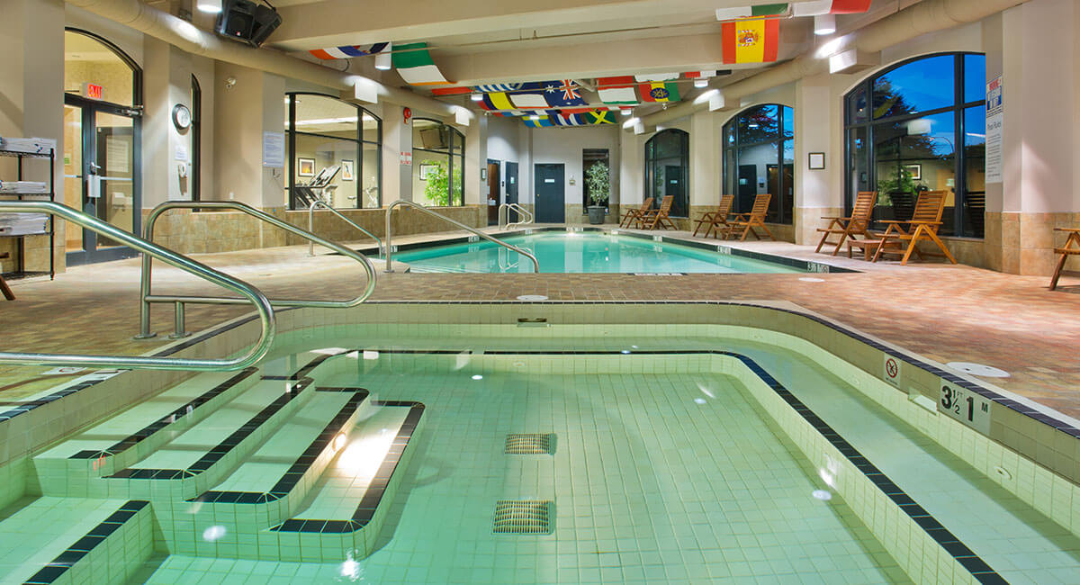 Two indoor swimming pools at the Holiday Inn North Vancouver