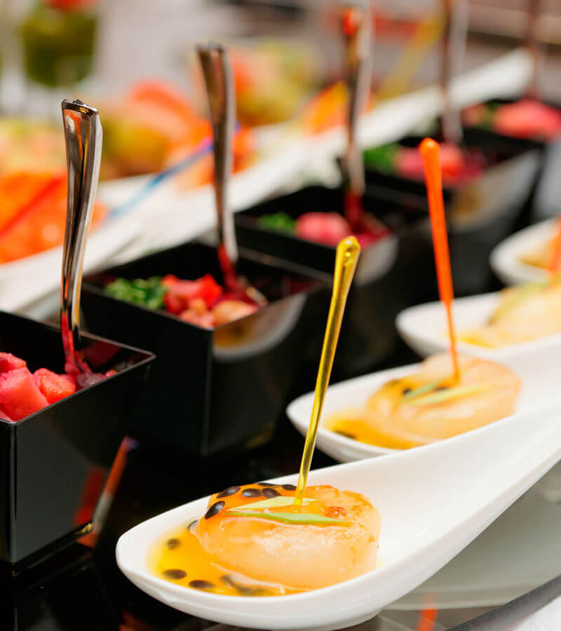 Catered specialities tantalizingly presented for guests