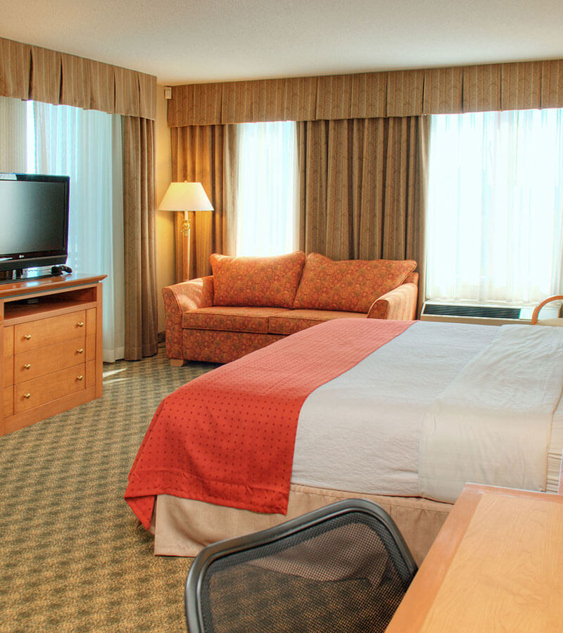 Single bed accommodation with couch and television - Holiday Inn North Vancouver