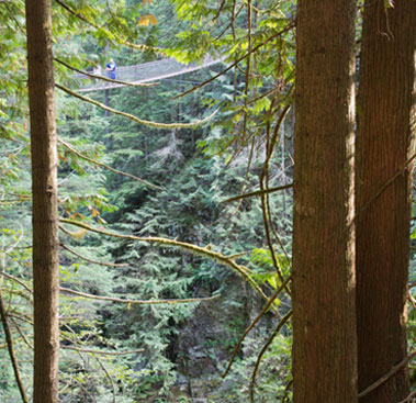 Two visitors at the Capilano Suspension Bridge in North Vancouver
