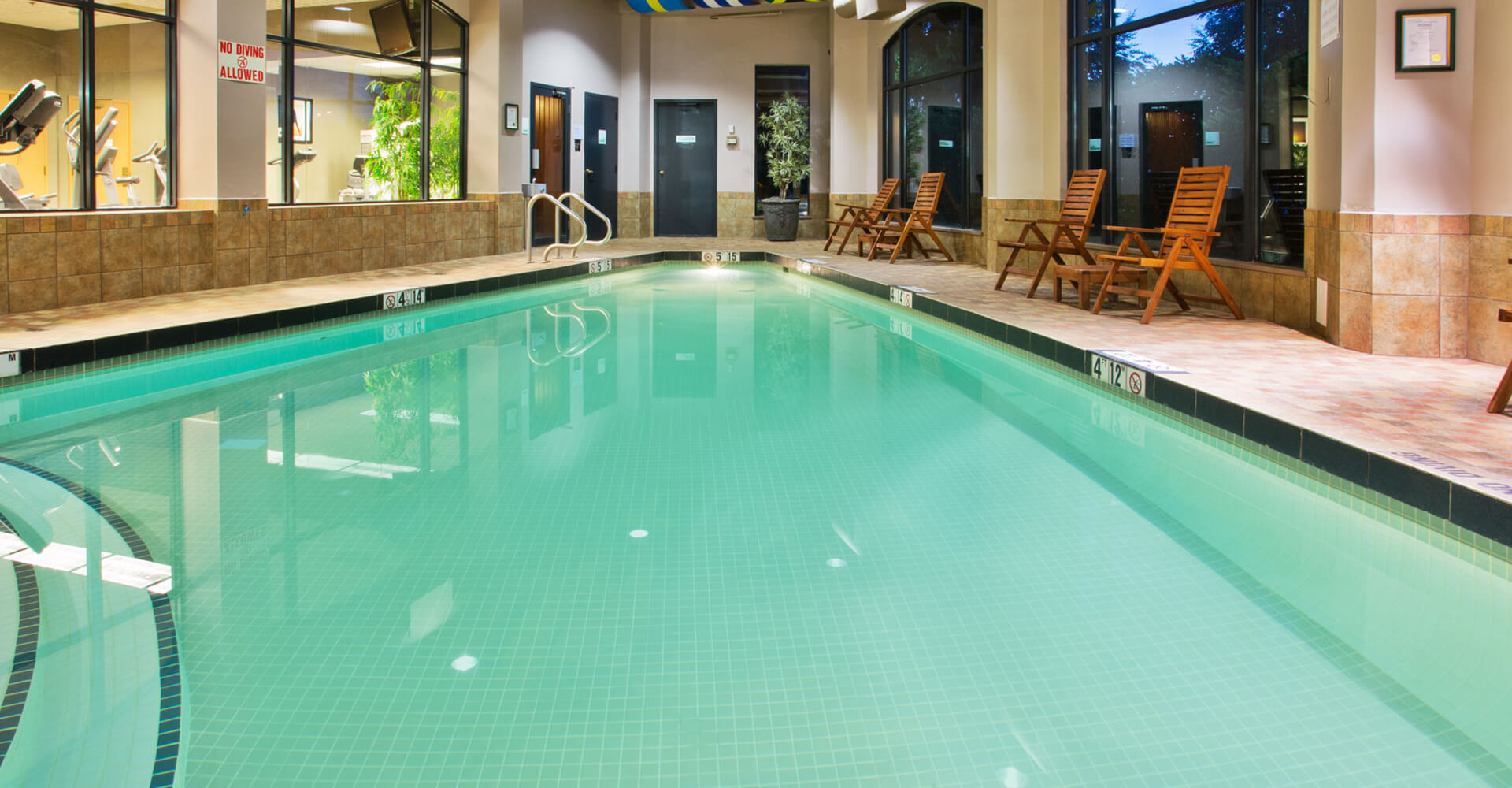 Indoor swimming pool with crystal clear water at the Holiday Inn North Vancouver